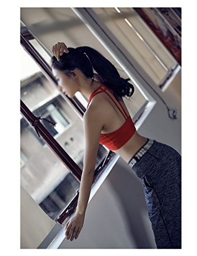 ZCJB Doppia Linea T Senza Bordi Con Imbottitura Per Il Petto Gilet Yoga Anti-shock Comodo Movimento Traspirante Fitness Biancheria Intima Yoga ( Colore : Nero , dimensioni : L. ) Rosso