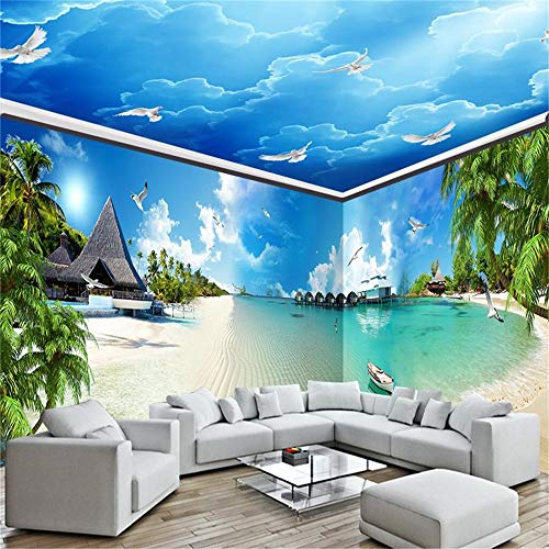 WPCHOU Wpchouwallpaper Mural Blue Sea Beach Full House Hintergrund Tapeten Foto 3D Tv Einfach, 250 * 175Cm