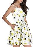 Fancyinn Mujeres Backless Spaghetti Strap Floral Imprimir Mini Vestido Casual Limon Amarillo M