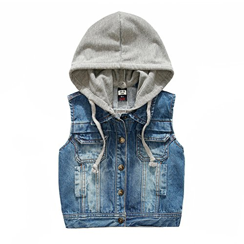 Kids Boys Hooded Denim Vest Jacket Zipper Fashion Hoodie Jean Jacket Tops Waistcoat Hood 3-10 Years