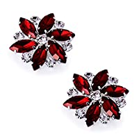 ElegantPark AJ Fashion Rhinestone Crystal Shoes Dress Decoration Red Shoe Clips 2 Pcs