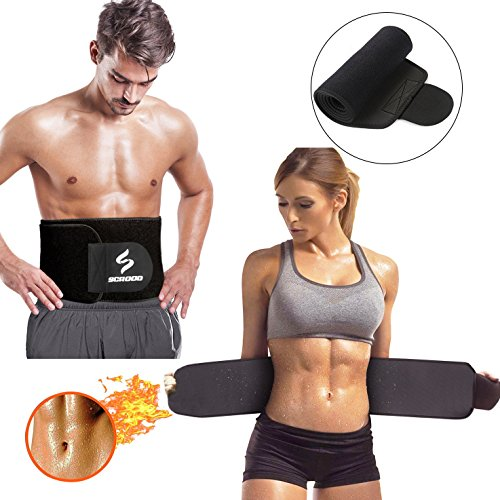 Scrood Waist Trimmer, Gym Workout Waist Trimmer Belt Adjustable Abdominal Trainer Fat Burner Fast Weight Loss Wrap Bodybuilding For Men, Women (Black)