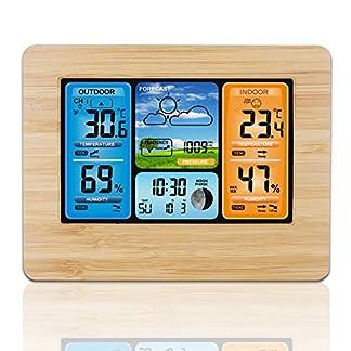 Frontoppy Estación meteorológica Digital con Reloj-Alarma y Sensor Externo, Alarm Clock con Pantalla LCD en Color, estación meteorológica inalámbrica con Sensor inalámbrico Outdoor