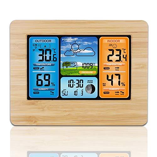 OurLeeme Funkwetterstation, Digitale Wettervorhersage Indoor Outdoor Thermometer Temperatur-Feuchtealarm Wetteruhr mit Außensensor (Holz)