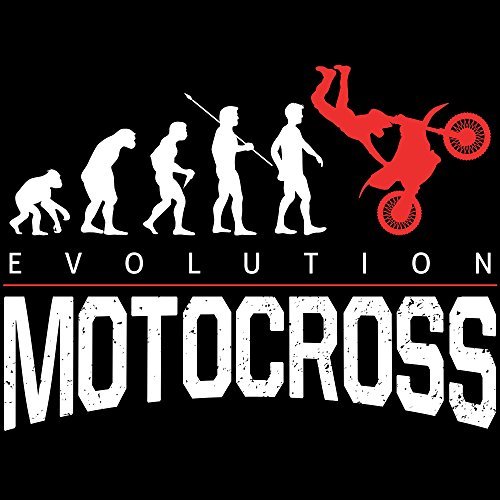 Fashionalarm Herren T-Shirt - Evolution Motocross | Fun Shirt mit lustigem Motiv für Motorrad Offroad Dirt Bike Fahrer Motocrossfahrer Biker Hobby Schwarz
