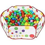 HTIANC Piscina de bolas para niños/bebes, Parque de bolas para interiores y exteriores, Impermeable, 100cm Seis esquinas pueden doblarse(no incluye las bolas)