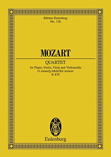 Klavierquartett g-Moll: KV 478. Klavier, Violine, Viola und Violoncello. Studienpartitur. (Eulenburg Studienpartituren)