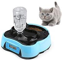 Sailnovo Futterautomat Katze Automatischer Futterspender für Katze Hund, Futter und Wasserspender, Pet Feeder mit Timer LCD Bildschirm und Ton-Aufnahmefunktion, nassfutter trockenfutter futternapf