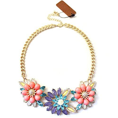 Heyjewels Damen Pink Lila Rosa Blumen Kragen Halskette Gliederkette Modeschmuck Choker Chunky Statement Bubble Bib Kette