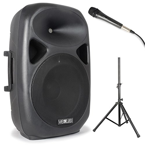 Vexus SPS152 PA-Lautsprecher-Box Aktiv-Lautsprecher Set mit Stativ (Fernbedienung, 600W max., Bluetooth, MP3-fähiger USB-Slot- und SD-Kartenslot, AUX, inkl. Mikrofon) schwarz (Surround-sound-system-clips)