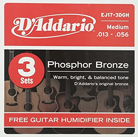 D'Addario EJ17-3D Medium Phosphor Bronze Acoustic Guitar Strings with Free Humidifier (Pack of 3)