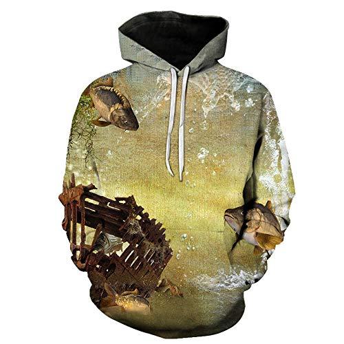 WYxiaobaozi 3D Druck Hoodie Unisex,Gebrochene Fische Cage Unisex 3D-Hoodies Für Schüler Hip-Hop Lustig Bedruckten Pullover Hooded Sweatshirt Taschen Paar Baseball Uniform-M -