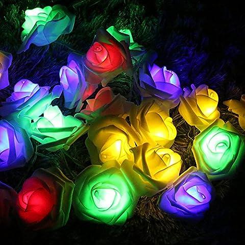 Stillshine - Lampes à cordes, 3M 30LED Batterie à fleurs en rose à la batterie Fairy Light pour fête de jardin de mariage Halloween Noël, bar, club, décoration intérieure - Minuterie par Festive Lights (Les Couleurs)