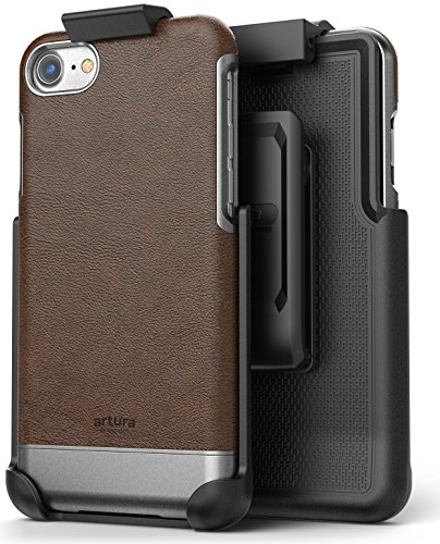 iPhone 7 Vegan Leather Belt Clip Case w/ Holster - Artura Collection by Encased (Jet Black) Mahogany Brown