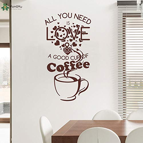 zhuziji Wandtattoo Creative Cafe Shop Wandtattoos Zitate Alles was Sie brauchen ist Liebe Gute Tasse Kaffee Fenster Logo Abnehmbare Deco 42x80cm