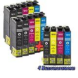 10 x Patronen + 4 Reinigung Drucker -Tinte patronen IBC für Epson Expression Home XP-102 / XP-202 / XP-205 / XP-212 / XP-215 / XP-225 / XP-30 / XP-33 / XP-302 / XP-305 / XP-312 / XP-313 / XP-315 / XP-325 / XP-402 / XP-405 / XP-405WH / XP-412 / XP-413 / XP-415 / XP-422 / XP-425 Alle Farben: 4x Schwarz, 2x Cyan, 2x Magenta, 2x Gelb, 4x Reinigung NEU
