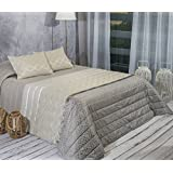 Algodón Blanco Xavier - Colcha bouti jacquard, para cama de 90 cm, 180 x 270 cm, 1 funda de cojín, 60 x 40 cm, color gris