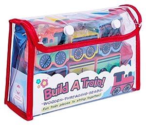 Meadow Kids - Construye un tren, cuentas de madera, 14 piezas (MK151)