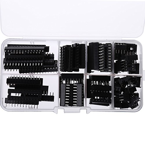 Ranuw 66 PCS/Set Dip-IC-Buchsen Adapter Solder Typ Sockel Kit 6 8 14 16 18 20 24 28 Pins Ic 16-pin-dip