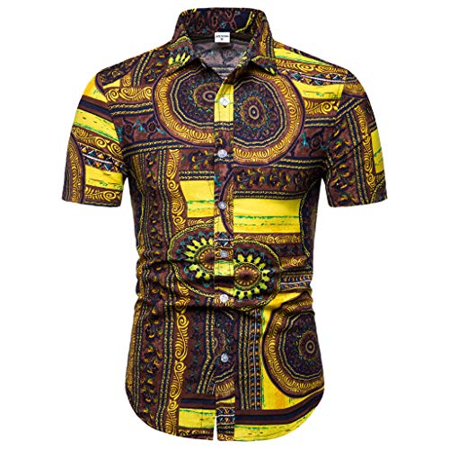 Mymyguoe Camisa de Manga Corta Estampada para Hombre Camisetas Hombre Manga Corta Camisas de Hombre Verano Camisas Hombre Manga Corta Camisa Blusa Superior
