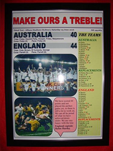 Australien 4044–England Rugby Union Dritte Test weißwaschung–Kunstdruck, gerahmt