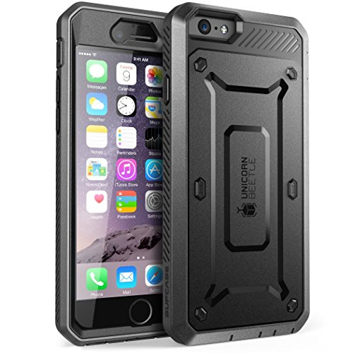 s/6S Plus (5.5 Zoll) Hülle Unicorn Beetle PRO Handyhülle Outdoor Case Robust Schutzhülle mit integriertem Displayschutz und Gürtelclip, Schwarz ()