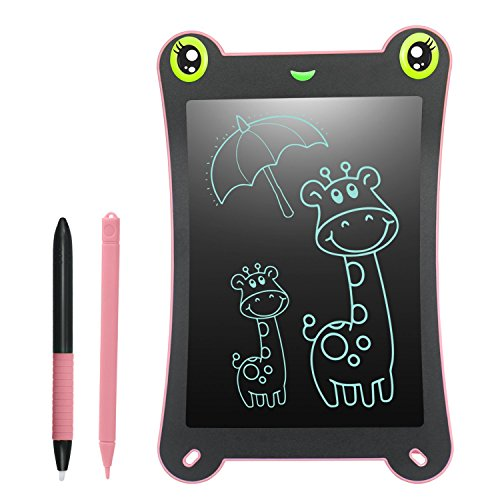 (Neueste Version) LCD Schreibtafel Kinder Writing Tablet - 8,5 Zoll Frogbad 2 Magnete 2 Stifte Papierlos Wiederverwendbares für Kritzeln Schreiben Malen Super Geschenk als Spielzeug (Rosa)