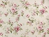 Dekostoff Rosenland 16, natur/rosa, Meterware ab 0,5 m