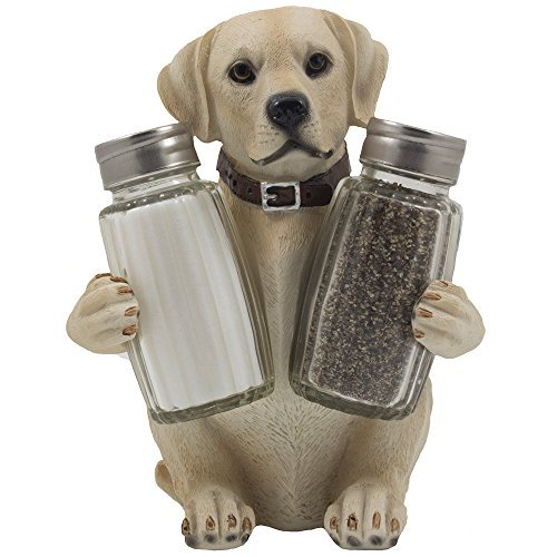 Labrador Retriever Salt and Pepper Shaker Set with Decorative Display Stand Dog Figurine Holder for Lodge & Hunting Cabin Kitchen Decor Table Centerpieces As Puppy Gifts for Hunters by Home-n-Gifts
