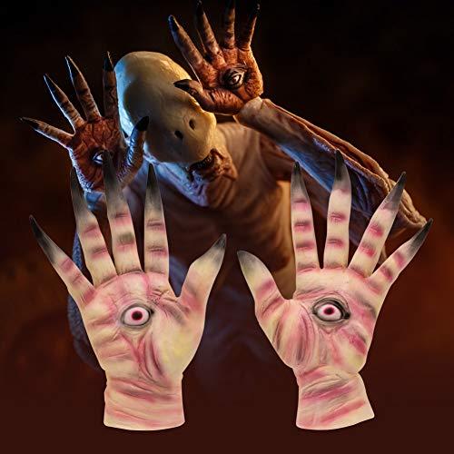 Gychee Halloween Cosplay Horror Halloween Party Dekorationen, Labyrinth Pale Man Cosplay Kostüm Requisiten Creepy Latex Handschuhe Für Erwachsene Party - Labyrinth Kostüm Halloween