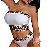 COZOCO Heiße verkaufende Damen Zweiteiliger Badeanzug Nachtwäsche Leopard Underwear Print Lingerie Bandeau Patchwork Bikini Set Beachwear