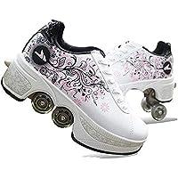 ZSPSHOP Patín En Línea Zapatos Multiusos 2 En 1 Botas Ajustables para Patines De Cuatro Ruedas Blanco,37