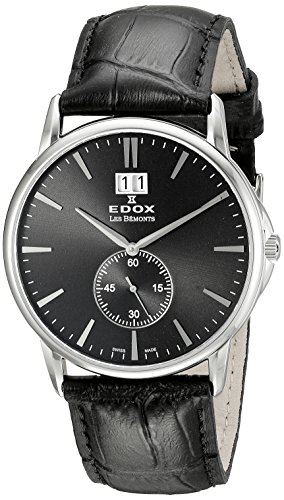 EDOX Unisex Analogue Quartz Watch with Leather Strap 64012 3 NIN