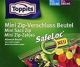Toppits Mini Zip-Verschluss Beutel, Transparent, 40 Stück (20 x 150 mL / 20 x 380 mL)