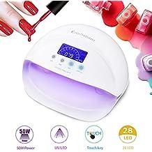 50W Lámpara de Uñas UV/LED 28 Bombillas Secador de Uñas de Gel con 3 Temporizador Pantalla LCD, Sensor Automático, Secado de Esmaltes de Uñas y Gel Rápido -Duomishu