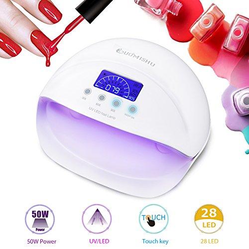 50W Nagellampe UV/LED Nageltrockner, 28pcs LEDs Lampe für Nägel LCD Display Touch Key mit 4 Timer, für Nagellacke und Gel & Trocknen Schnell von Gelnägel und Zehennägel -Duomishu (weiß)
