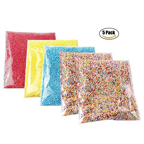 Da.Wa 5 Pakete Polystyrol Styropor Perlen Kleine Schaum Bälle Slime Perlen Fit für Slime Making Art DIY Handwerk, Dia 2.5-3.5mm Approx13000-14000 Bälle