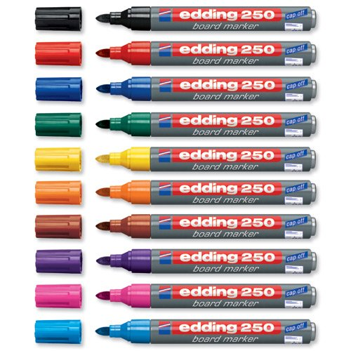 Edding 4-250999 Boardmarker 250, nachfüllbar, 1,5 - 3 mm, Sortiert, 10er Set