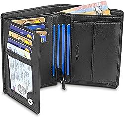 TRAVANDO Geldbeutel Männer Chicago RFID Geldbörse Herren schwarz Portemonnaie Portmonaise Geldtasche groß Brieftasche Hochformat Herrengeldbeutel Herrenbörse Herrengeldbörse Portmonee Geschenk Wallet