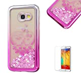 For Samsung Galaxy A3(2017 Model) Case A320 Cover, Funyye New Creative Floating Water Liquid Small Love Hearts Design Luxury Sparkly Lovely (Silver to Pink) Electroplate Plating Frame Crystal Design for Samsung Galaxy A3(2017 Model)- Owl