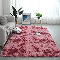 Modern Shaggy Rugs Fluffy Soft Touch Dazzle Sparkle Area Rug Carpet Large for Living Room Bedroom Floor Mat (Watermelon Red,160 x 230cm)