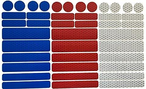 UvV-Reflex Sticker - Reflektoren 42 Stück Light Reflex Reflektor für Buggy, Kinderwagen, Gehstock, Bikes, Helm (blau-rot-silber)