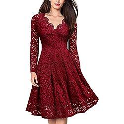 Coctel Vestido Largo para Mujer Rojo X-Large