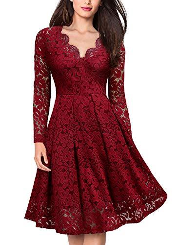 Miusol Elegante Encaje Slim Coctel Vestido Largo para Mujer Rojo X-Large