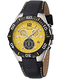 Accurist Men's Quartz Watch with Yellow Dial Chronograph Display and Black Leather Strap MS832Y