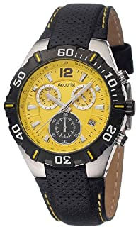 Accurist Men's Quartz Watch with Yellow Dial Chronograph Display and Black Leather Strap MS832Y (B004DXR3R8) | Amazon price tracker / tracking, Amazon price history charts, Amazon price watches, Amazon price drop alerts