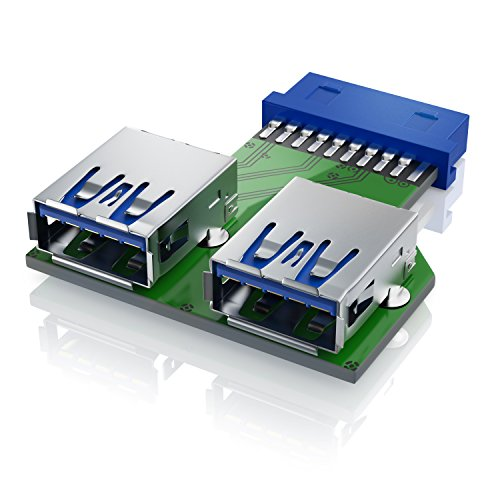 CSL - 19 pin zu USB 3.0 Header Adapter | Adapterkarte Schnittstellenkarte | USB Pin Header | Dual USB Port (2-Port) | Windows + Mac + Android | treiberlose Installation | abwärtskompatibel