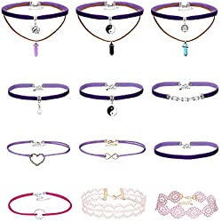 mingjun 12unidades Vintage Lace Lila y rosa terciopelo Choker Juego Gótico Elastic Multilayer colgante collares para mujeres niña