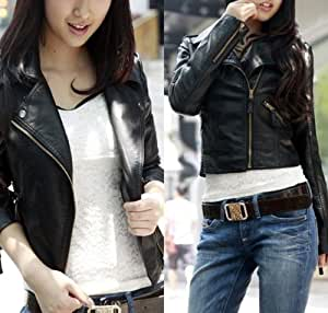 Womens Vintage Black Slim Biker Motorcycle Leather Zipper Jacket Coat (XL=UK12)