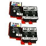 Karl AikenCompatible Epson 266 267 T2661 T2670 Cartouches d'encre Replacement for Epson WorkForce WF-100W Imprimante (6x(4 Noir,2 Tri-couleur))